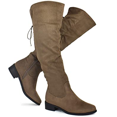 13e1588d907a Premier Standard - Women's Over The Knee Back Lace-Up Stretch Boot - Trendy  Low