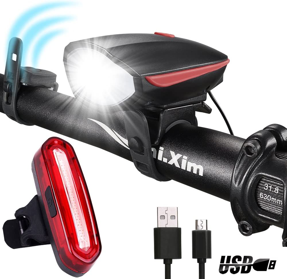 DARKBEAM Horn Bicycle Headlight Tail Light Kit 250 Lumens 120dB Speaker Super Bright USB Rechargeable Bike Light, with A Super Bright Warning Taillight to Keep You Safe