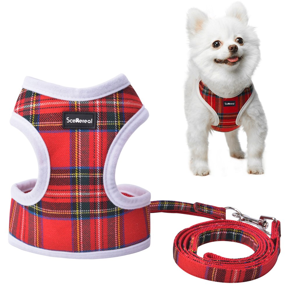 Small Dog Harness and Lead - Red Plaid Adjustable Vest for Puppy Cats Small Pets Cute and Soft