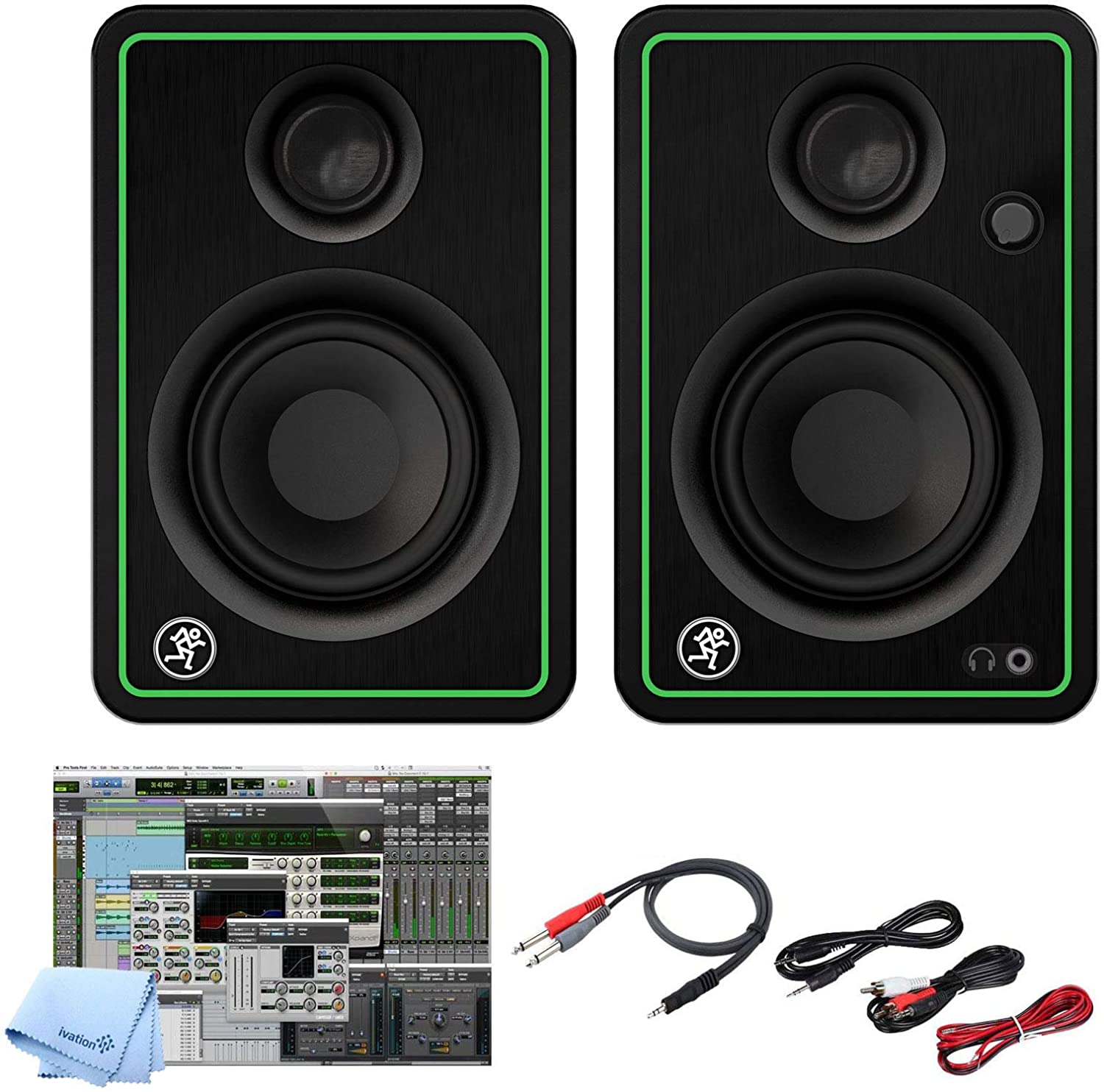 Mackie CR3-X 3-Inch Creative Reference Multimedia Monitors Bundle with and Pro Cable Kit Featuring Pro Tools First DAW Music Editing Software