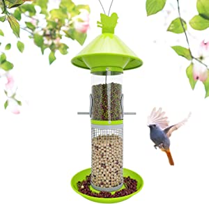 LANSCOERY Metal Wild Bird Feeder Hanging with High Seed Capacity for Garden Yard Decorations, Weatherproof Birdfeeder Perches, Dome Shaped Roof (Green)