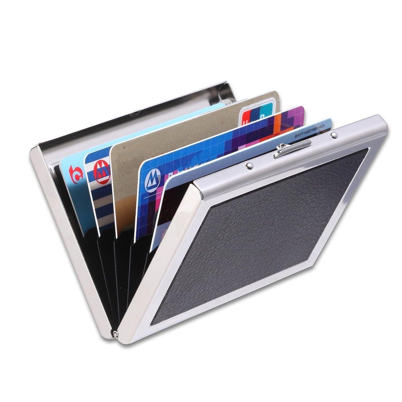 Yan Yin metal card Holder 6slot portafoglio per uomo e donna con tecnologia RFID stop Thieves tenendo tachimetro in acciaio INOX resistente all' acqua più affidabile denaro da carta di credito schermo nero