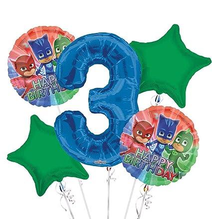 Amazon.com: Máscaras PJ globo ramo 2º cumpleaños 5 piezas ...