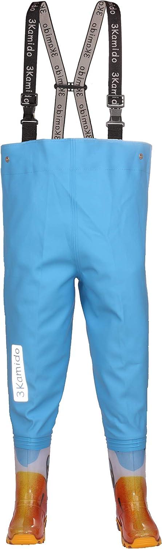 teens junior waders 20 durable suspenders UK 4 toddler - UK 2 adult fishing boots 35 EU splash suit buckle FixLock Nexus adjustable waist 3Kamido kids chest waders 10 models