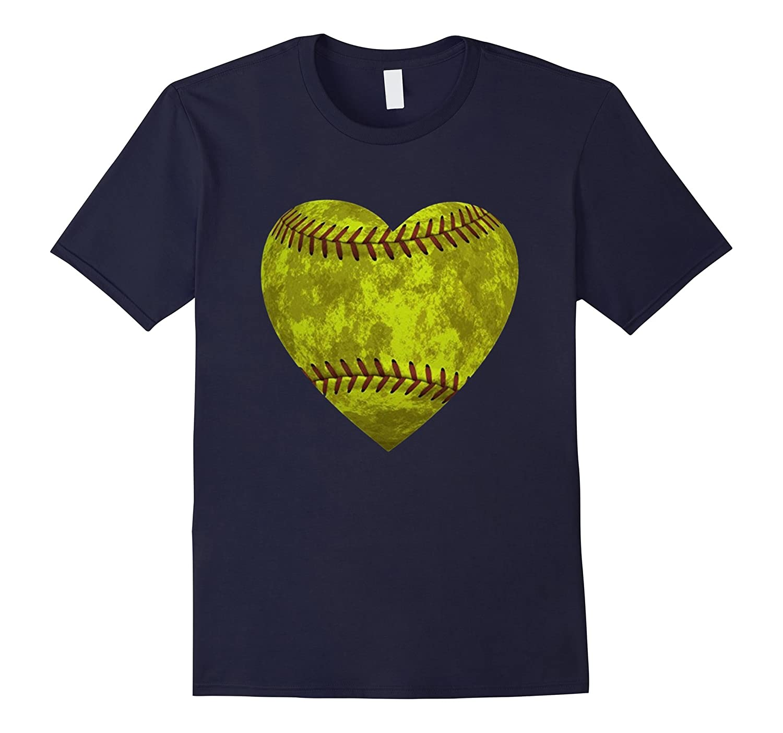 Softball Distressed Heart Shirt - Cute Mom Love Tee-BN