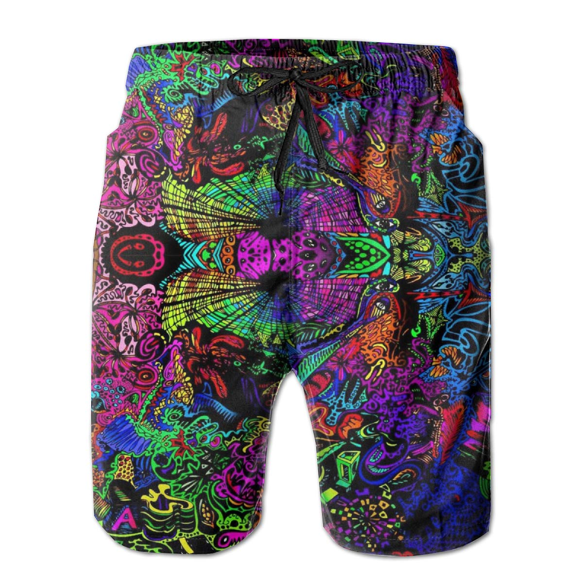 Yeates Flower Mens Swim Trunks Quick Dry Psychedelic Trippy Plant Printed Summer Beach Shorts Board Beach Short