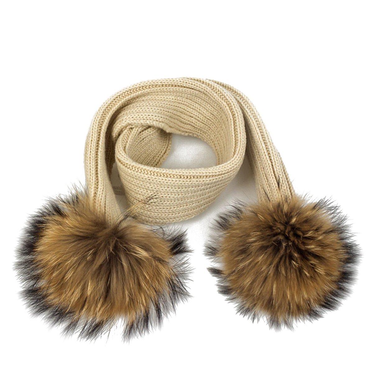 Abby Girls Fashion caldi bambini colore solido addensare capelli palla cappello + set cappello e sciarpa a maglia sciarpa di lana, Pink