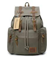 Canvas Backpack Vintage Rucksack Casual Leather Army Hiking Camping Knapsack 19L 21L