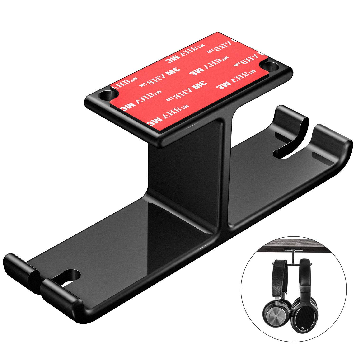 Headphone Hanger Headset Holder New bee Under Desk Dual Aluminum Headphone Hook Mount with Cable Organizer for All Headphones