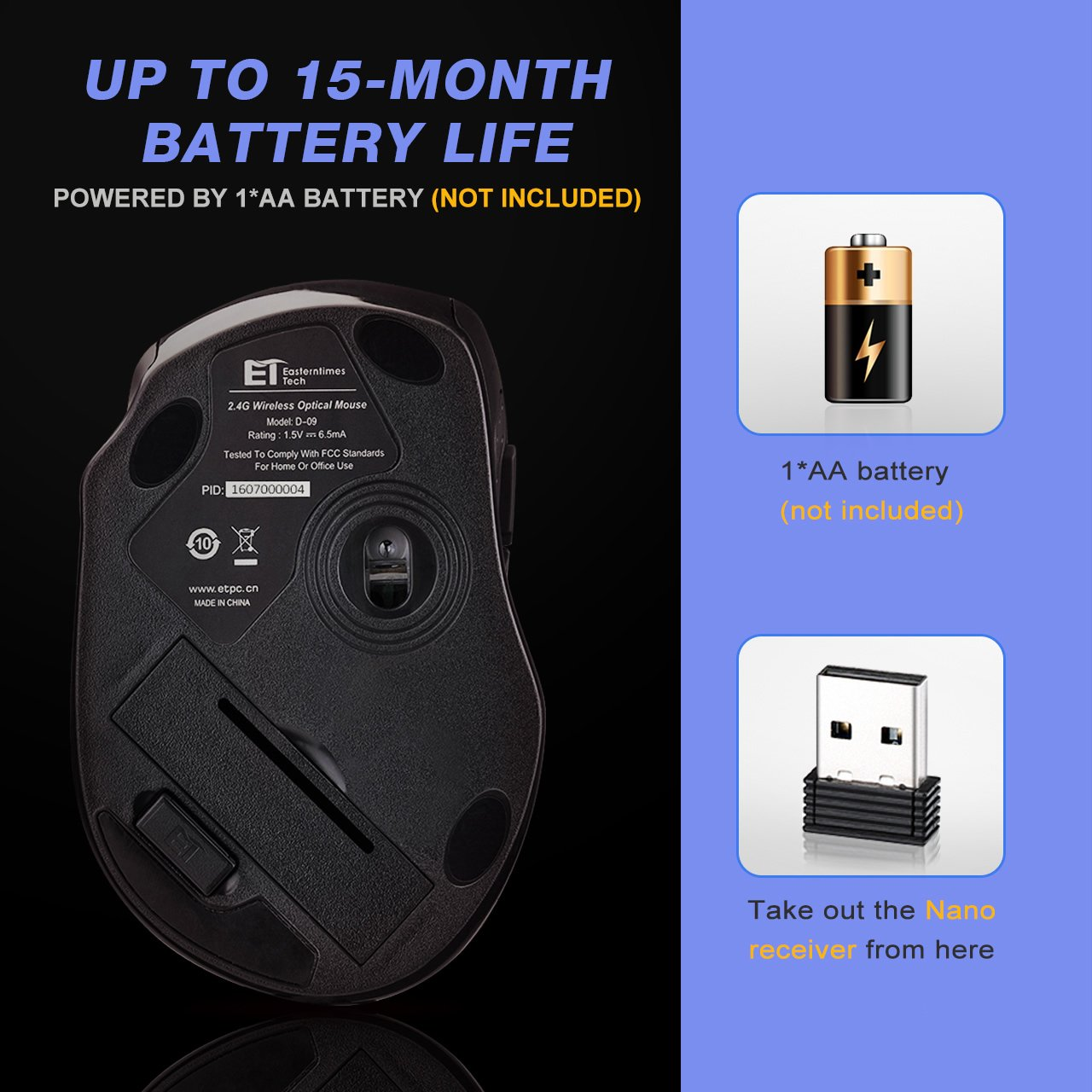 Nano Receiver 15 Month Battery Life 6 Buttons 2400 DPI Update to Latest Version VicTsing 2.4G Wireless Mouse,