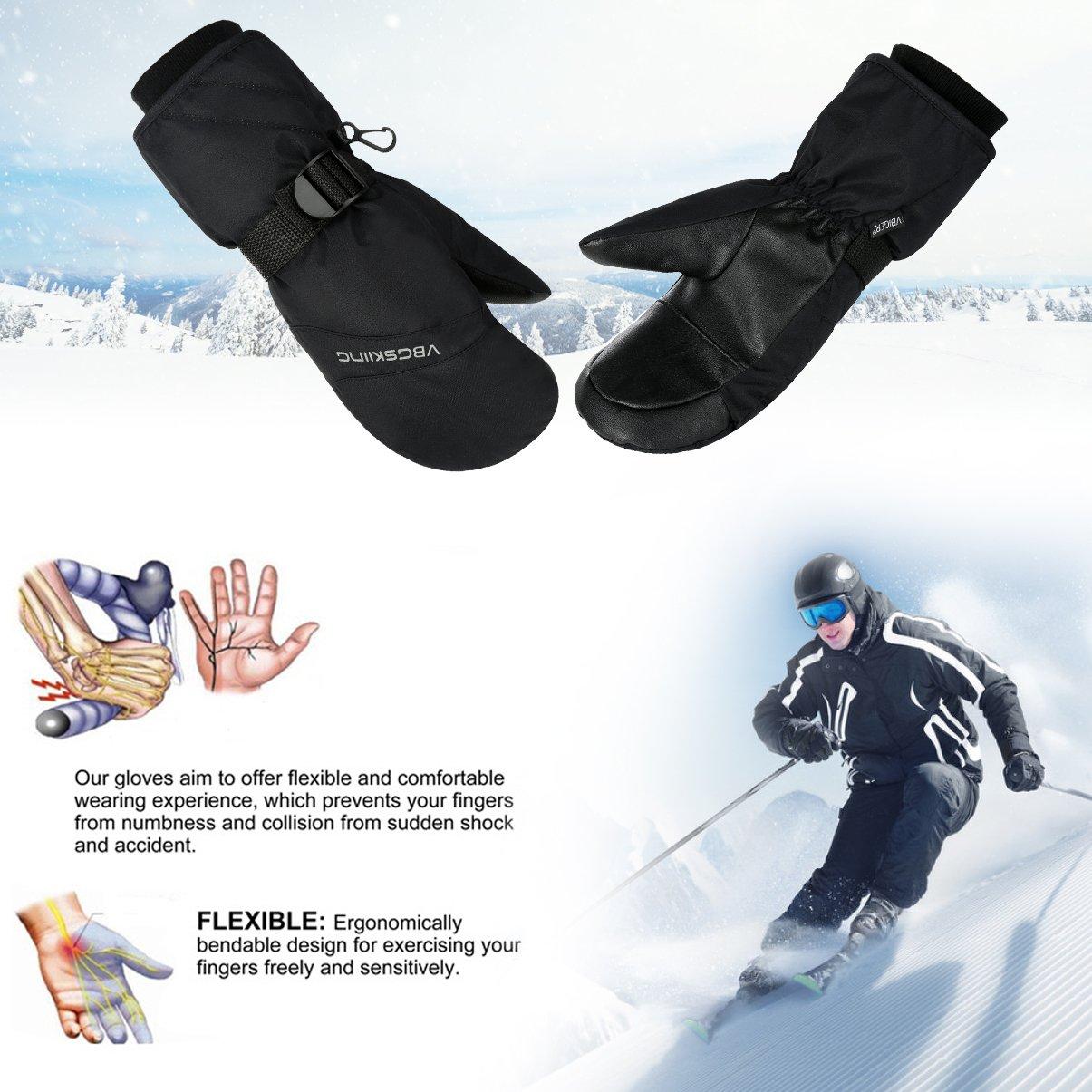 VBG VBIGER Winter Ski Mittens Waterproof Ski Gloves Warm Snow Snowboard Mittens Outdoors Cold Weather Mittens for Men Women