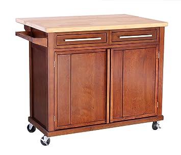 """HLC Carrito de cocina con encimera de madera mesa de servicio con ruedas 45""""x28"""