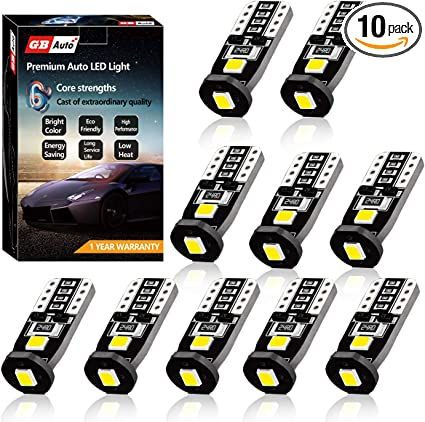10pc T10 W5W 194 168 501 Car White 3528 20SMD LED Inverted Side Wedge Light Bulb