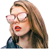 SIPHEW Womens Mirrored Sunglasses Polarized-Fashion Oversized Eyewear with UV400 Protection for Outdoor