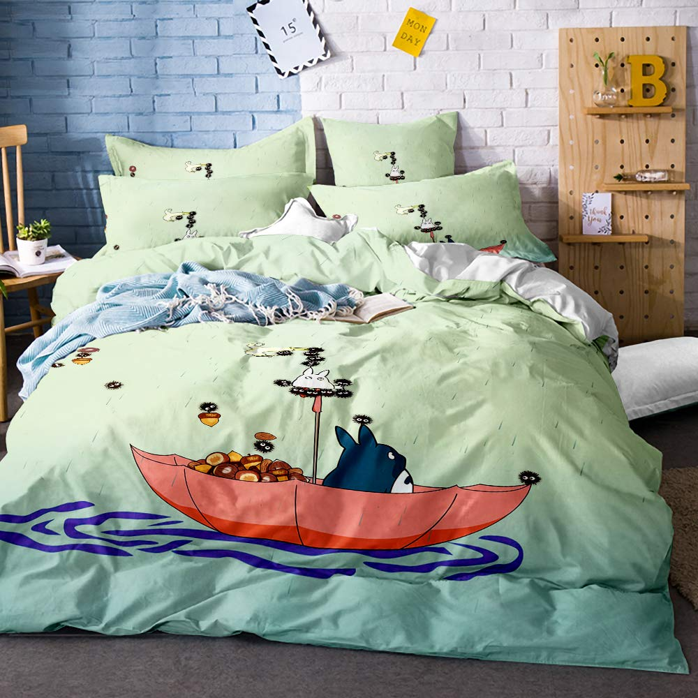 Earendel Totoro Duvet Cover Set My Neighbor Totoro Bedding Cartoon Character Bed Sets 2/3/4PCS Realistic Quilt Covers/Sheets/Pillowcases,Twin/Full/Queen/King Size (4,Twin-172x218cm-4PCS)