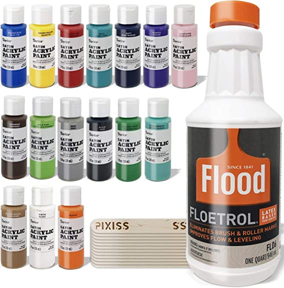 Amazon Com Floetrol Pouring Medium For Acrylic Paint Pouring Bundle 1 Quart Flood Flotrol Additive 16 2 Ounce Acrylic Paints Pixiss Wood Mixing Sticks