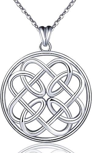925 Sterling Silver Pendant Women Irish Infinity Love Celtic Knot Necklace Set