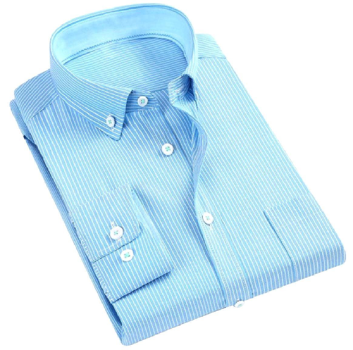 Tootless-Men Oxford Cotton Wrinkle-Free Long Sleeve Western Shirt