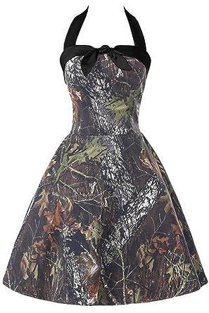 Ruisha Womens Hatler Neckline Vintage Camo Prom Ball Cocktail Dress