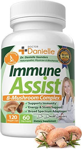 Organic Mushroom Immune Assist Support - Lion's Mane, Cordyceps and Reishi - Adaptogen Supplement - Wellness, Stress Relief, Memory Cognitive Support, Dr. Danielle - 120 Veggie Caps