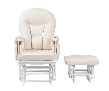 Silla de maternidad Serenity Nursing Glider blanca con reposapiés ... (Blanca)