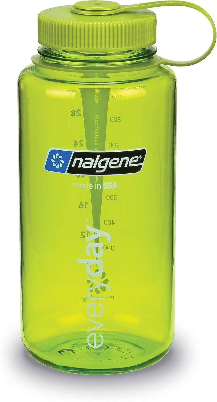 Nalgene Tritan Wide Mouth BPA-Free Water Bottle Spring Green with Green Lid, 16 oz