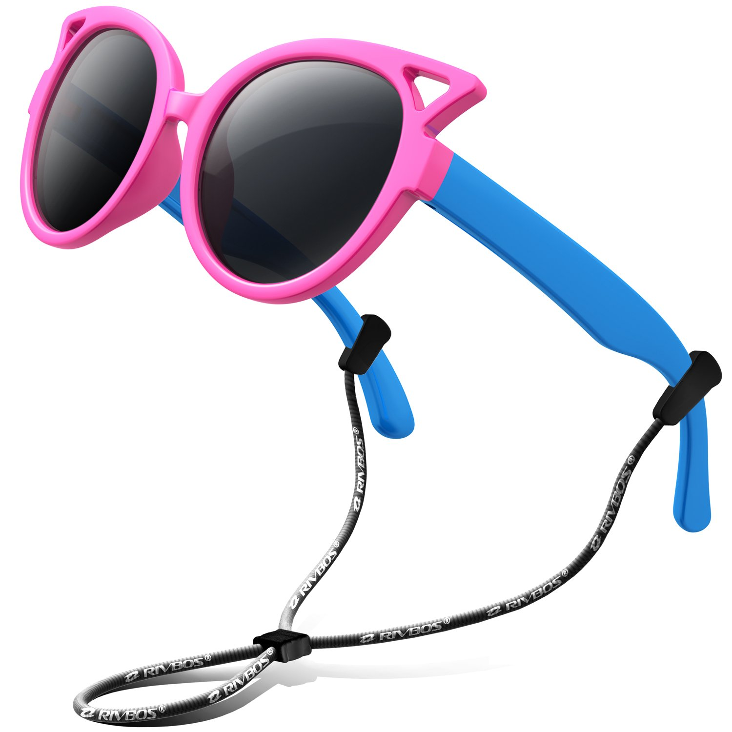 9c7963a34a4 Amazon.com  RIVBOS Rubber Kids Polarized Sunglasses With Strap Glasses  Shades for Boys Girls Baby and Children Age 3-10 RBK002 (rose red)  Clothing