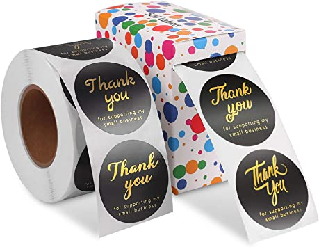 Thank you Stickers Foiled Thank You For Your Order Stickers Black Stickers and Rose Gold Print Branding Foiled Business Packaging