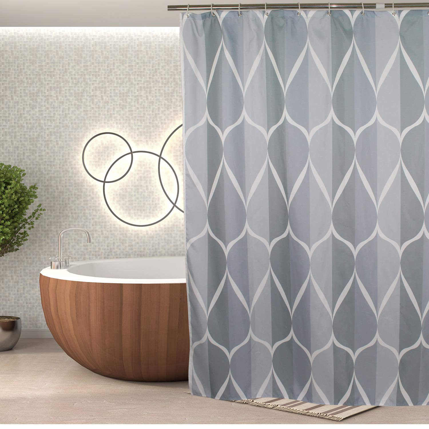 Shower Curtain Decor, Fashion Mildew Resistant Fabric Bathroom Decor Set with 12 Hooks, 72 x 72, Water Repellent 72 x 72 Modase