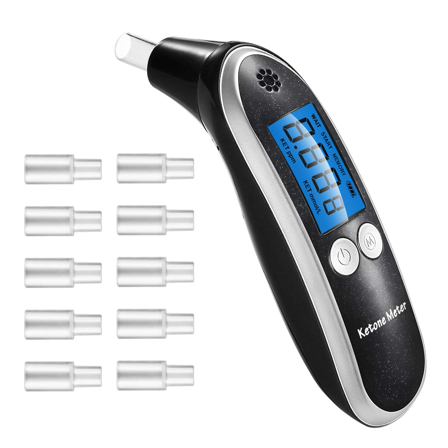 Ketone Meter, Professional Portable Digital Ketone Breath Analyzer with 10 Mouthpieces for Personal Use by HYIL-YM