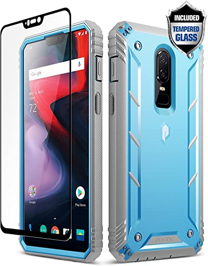 official photos 87fae c63c0 OnePlus 6 Rugged Case, Poetic Revolution [360 Degree Protection] Full-Body  Rugged Heavy Duty Case [with Tempered Glass] for OnePlus 6 Blue
