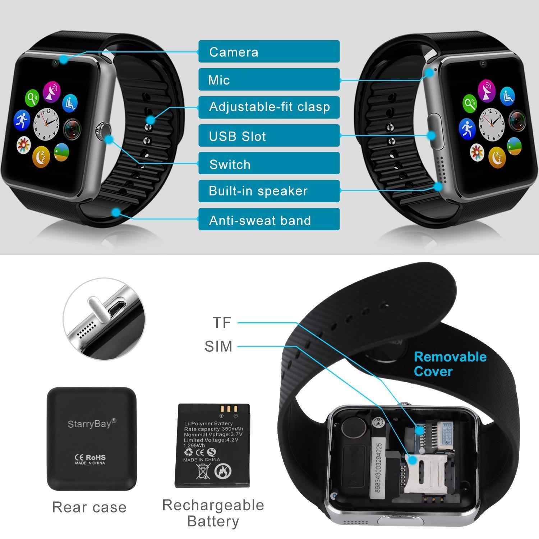 Amazon.com: Starrybay sw-08 – 1 Sweatproof Reloj Inteligente ...