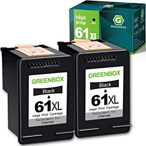 GREENBOX Remanufactured Ink Cartridge Replacement for HP 61XL 61 XL for Envy 4500 5530 5535 Deskjet 1000 1056 1510 1512 1010 1055 2540 2542 3050 3510 3050A Officejet 2620 (2 Black)