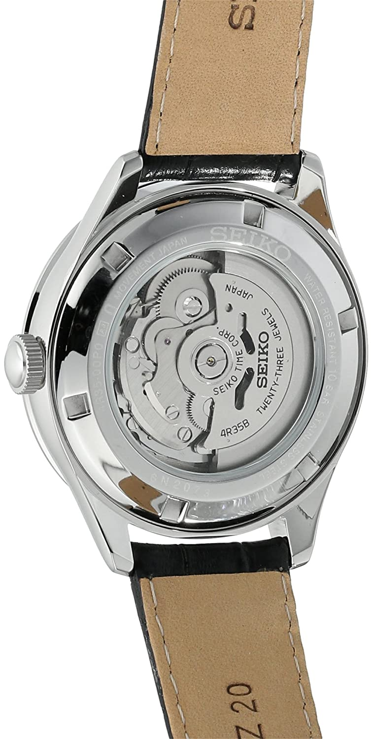 Seiko Men s Automatic Classic Dress Stainless Steel Japanese Watch with Leather Calfskin Strap, Black, 20 Model SRPA97