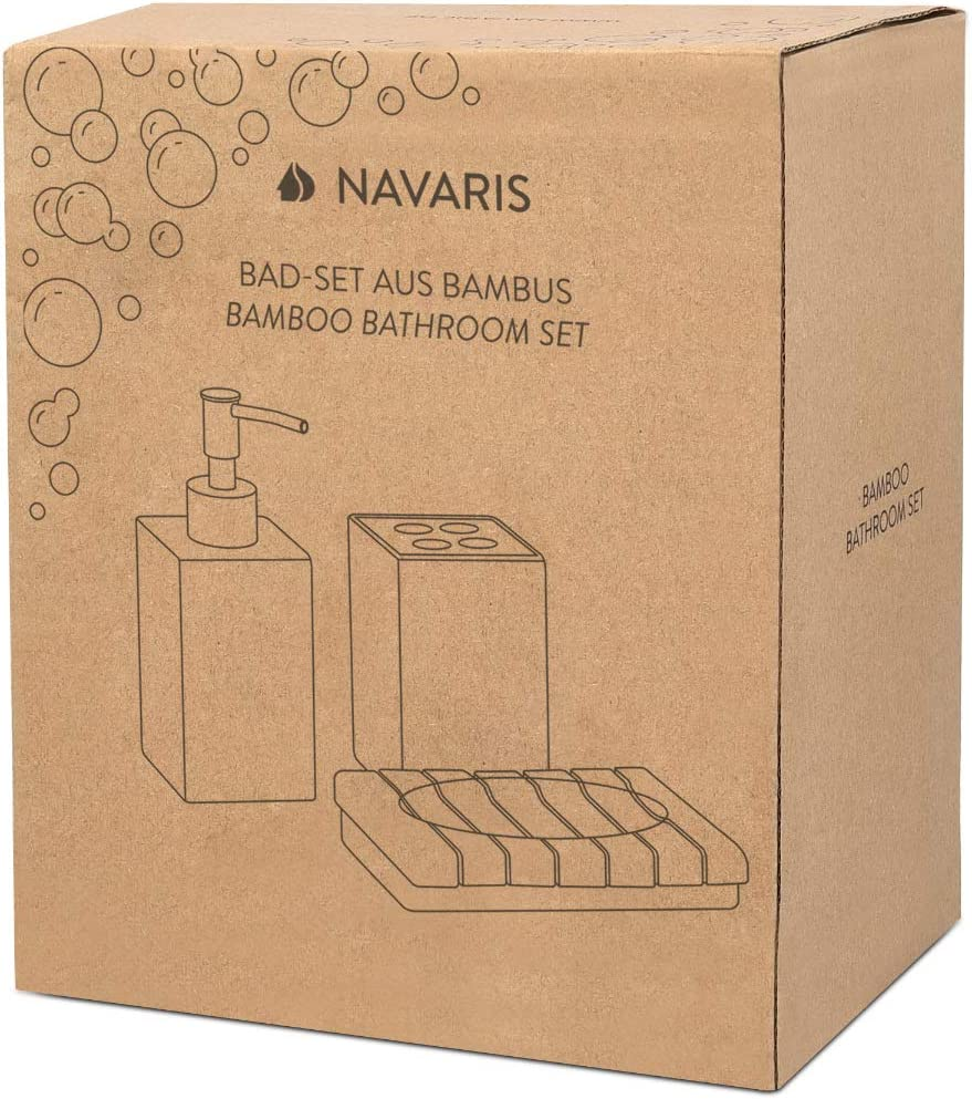 3X Accessoire pour Salle de Bain en Bambou Porte-Brosse /à dent Distributeur de Savon Support Navaris Set Accessoires Salle de Bain