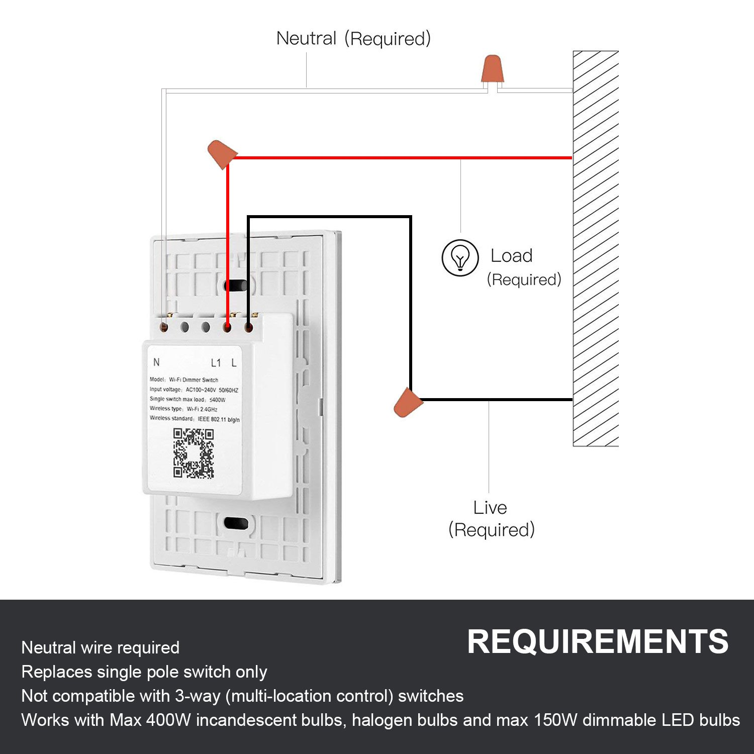 Smart Wifi Light Switches Touch Wall Switch Panel Replace 3 Way In 1 Gang Box