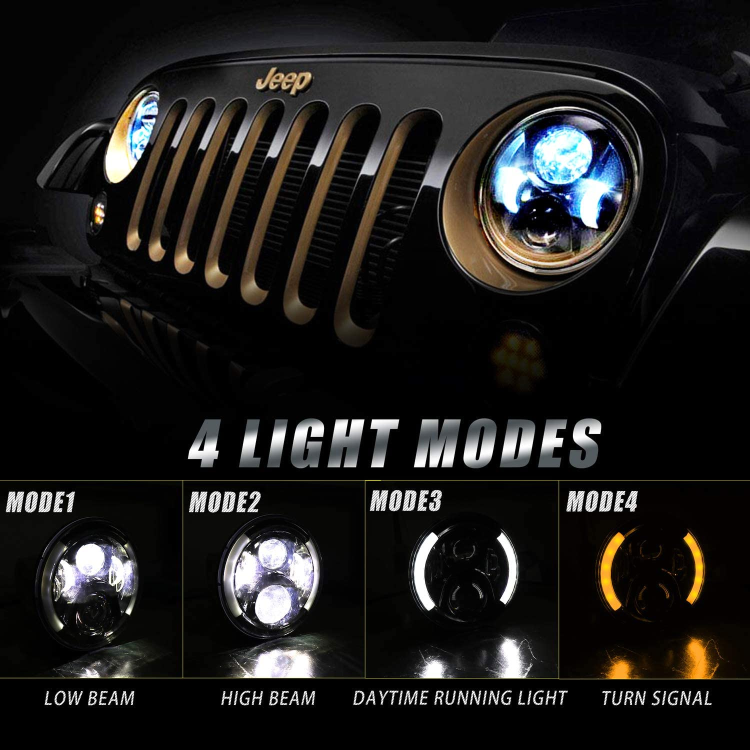 Jeep LED Headlights with Halo BEEYEO 7 Inch LED Headlights 120W Round Headlamp with Daytime Running Light DRL Turn Signal High Low Beam for Jeep Wrangler JK TJ LJ CJ with H4 H13 Adapter 2PCS