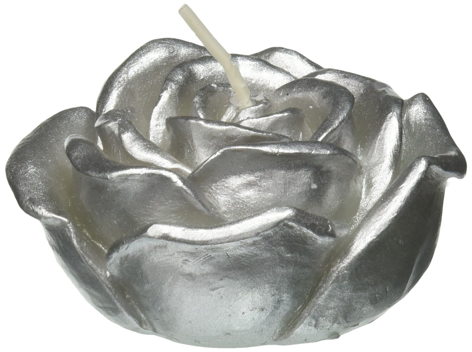 Zest Candle 12-Piece Folding Candles, 3-Inch, Metallic Silver Rose