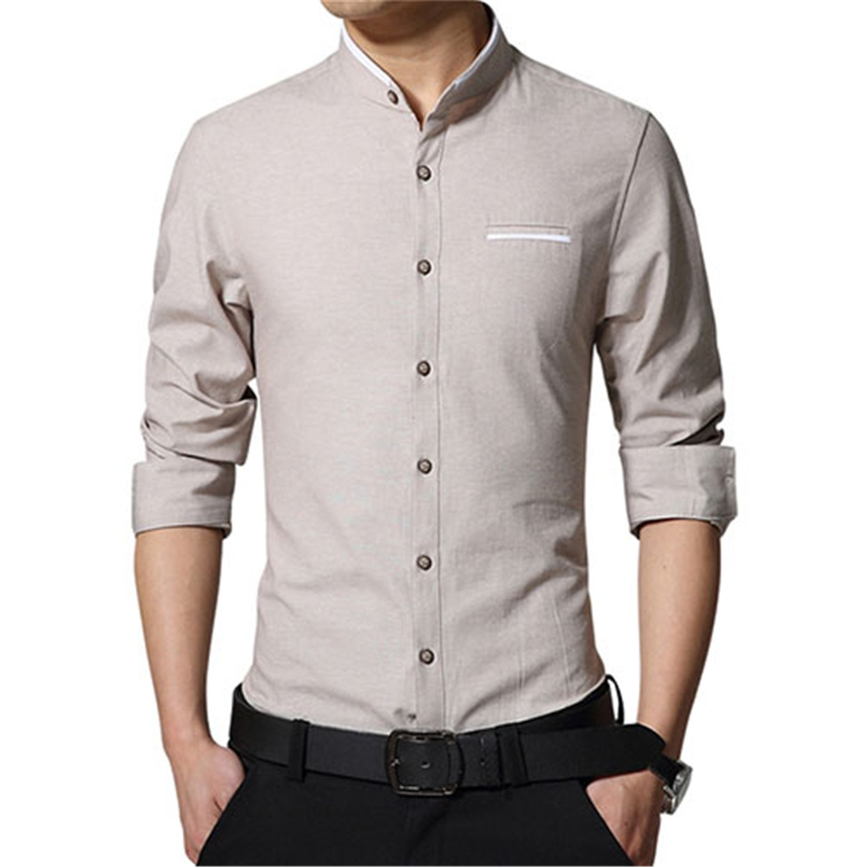 MRxcff Casual Men Shirt Long Sleeve Mandarin Collar Slim Fit Shirt Men Mens Dress Shirts