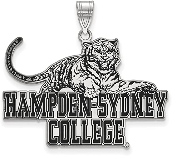 925 Sterling Silver Rhodium-plated Laser-cut Hampden Sydney College XL Pendant