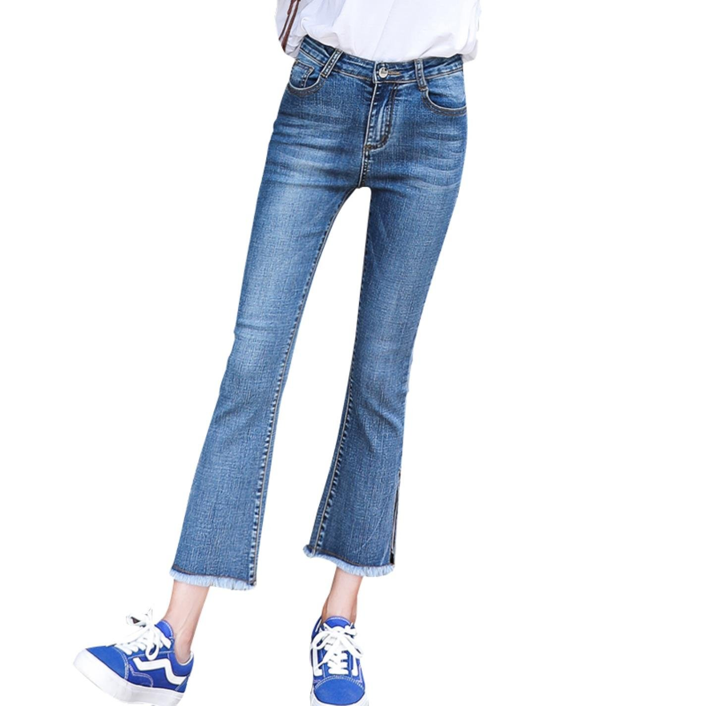 yubanten Irregular Tassel Flare Women Ankle-Length Pants Jeans