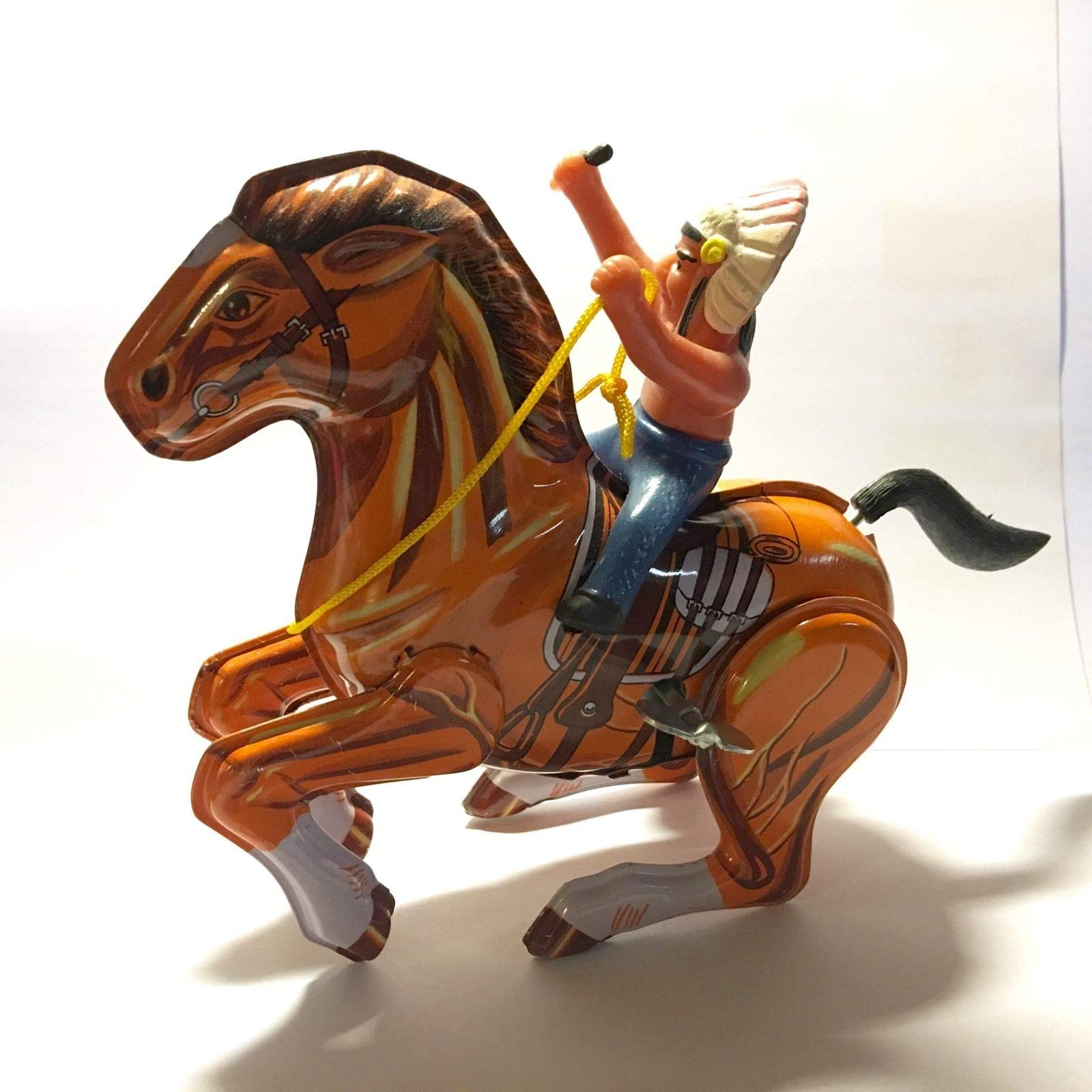 FidgetGear Mechanical Indian On Horse Wind Up Toy by MTU New with Box Boys Girls Show One Size