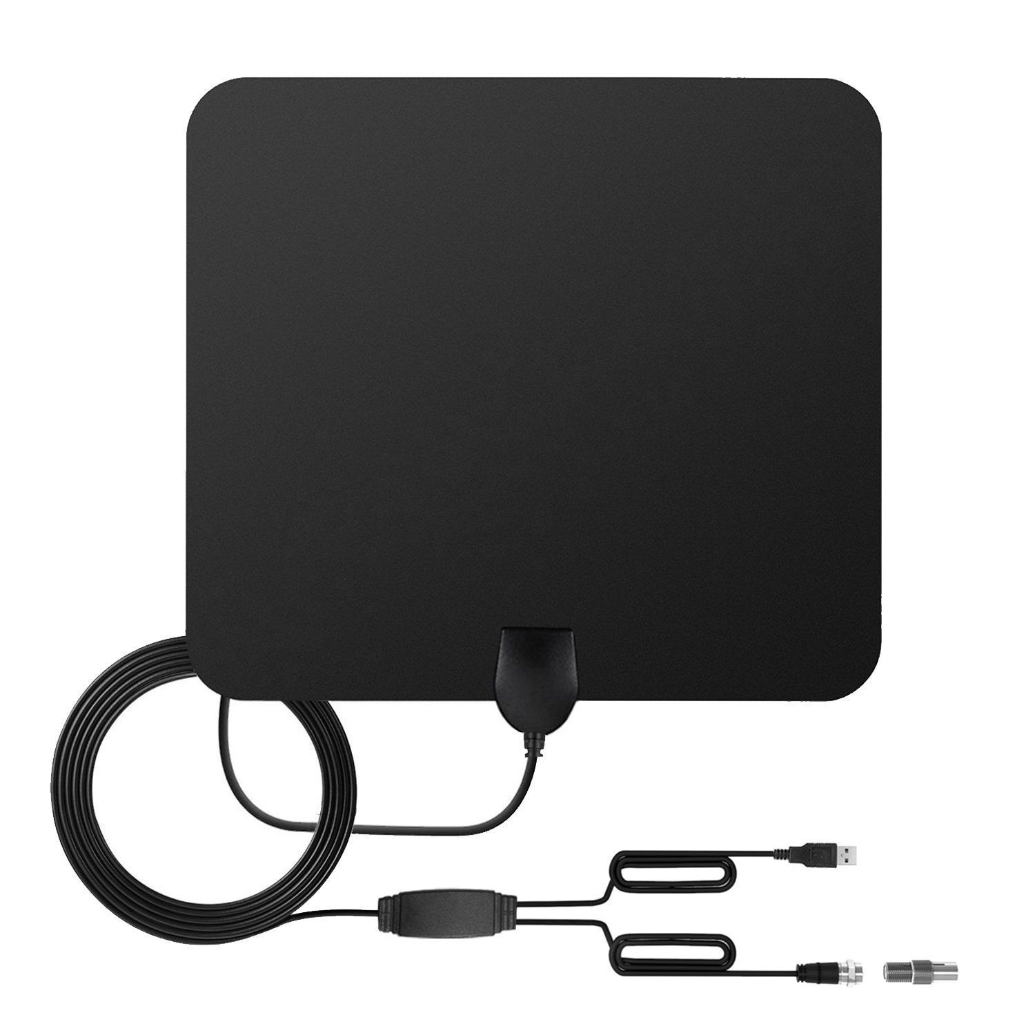 HDTV Antenna, Globmall Indoor Amplified TV Antennas 60 Miles Range Detachable Double Signal Amplifier, Environmental Protection Dual-PC Materials, USB Power Supply 16.5FT Coaxial Cable T-mars