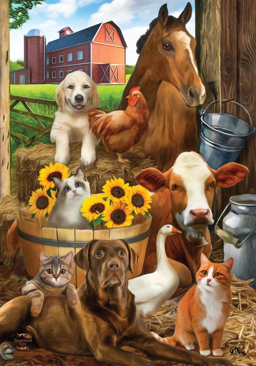 "Briarwood Lane The Gang's All Here Summer Garden Flag Farm Animals Cow 12.5""x18"""