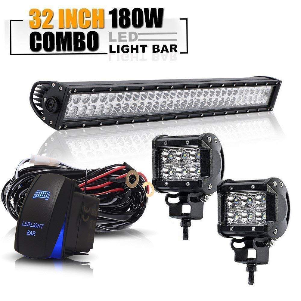 DOT Certified - 180W 32/30 INCH LED Light Bar & 2x 4' Pods 18W Driving Fog Light & Wiring Harness Kit for Offroad Ford F150 F250 Jeep Tacoma Polaris Chevy Silverado GMC Truck Nissan Frontier Xterra TURBOSII