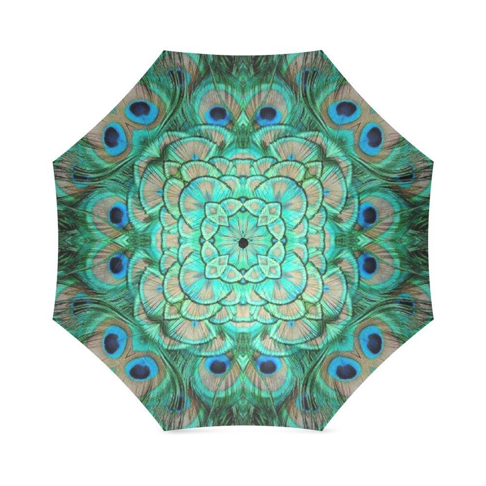 美しい孔雀の羽 アート 折りたたみ 防風 アウトドア 旅行 傘 女性用 B073N9NBVV