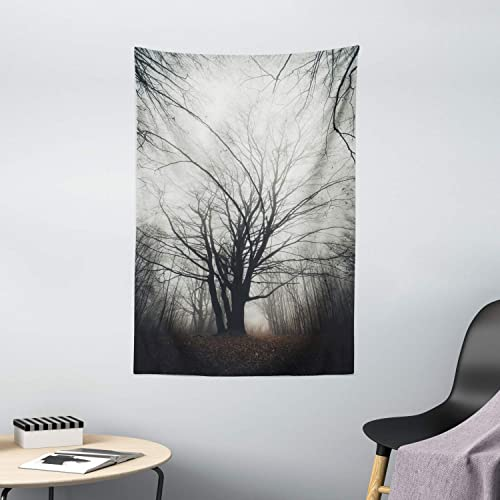 Ambesonne Nature Tapestry, Vertical Photo of Autumn Tree in Dark Haunted Foggy Mist Mysterious Forest Picture Print, Wall Hanging for Bedroom Living Room Dorm Decor, 40 X 60 , Grey