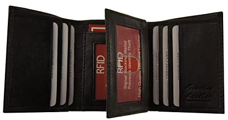 6d317a23c68b AG Wallets RFID Signal Blocking Leather Trifold Wallet With Flip-Out ID  Flap (Black)