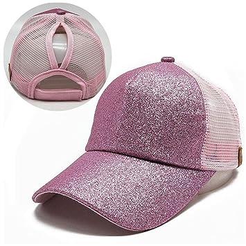 Gorra de béisbol de cola de caballo,An-sell 2018 Mujeres lentejuelas Sombrero de Snapback de moño desordenado brillante Gorras de sol (Rosado): Amazon.es: ...