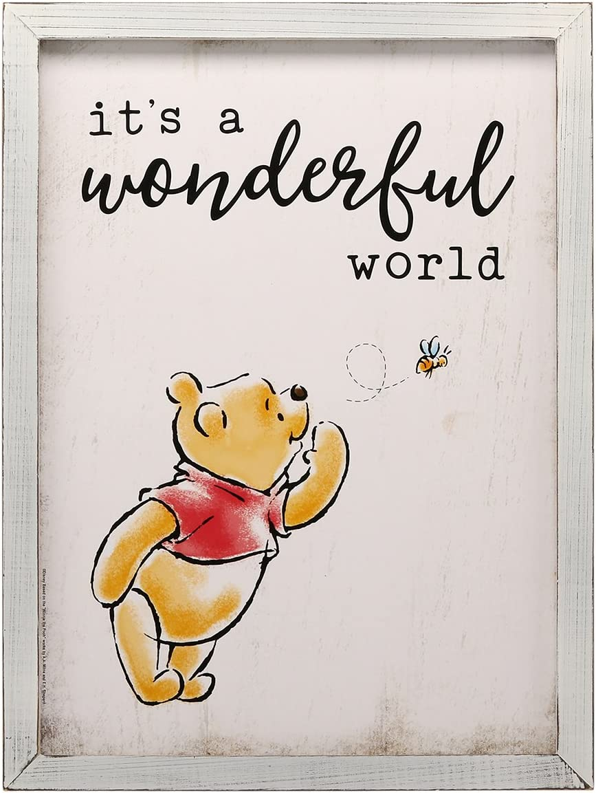 Open Road Brands Disney Winnie The Pooh It's A Wonderful World, MDF White Wood Wall Art Sign - an Officially Licensed Product Great Addition to Add What You Love to Your Home/Garage Decor